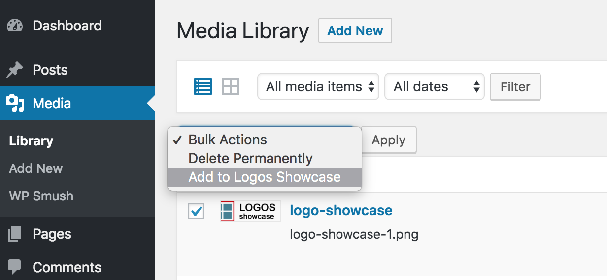 Screenshot of Media Library in WordPress