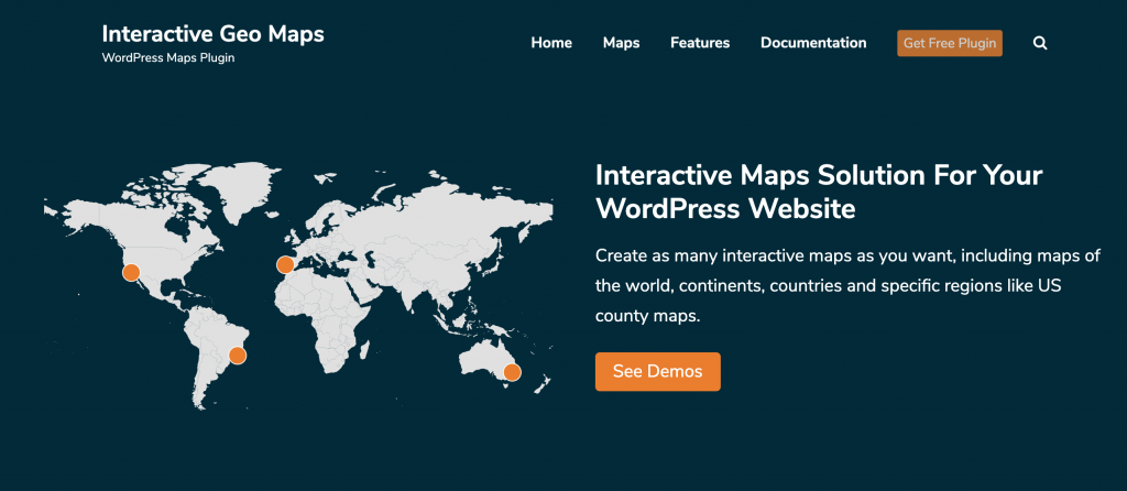 Screenshot of official webpage for Interactive World Maps