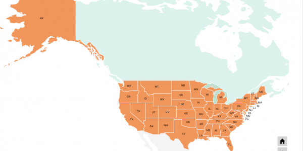 US state map in world map. Drill down map example.